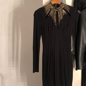 Black long sleeve gold sequence dress worn once